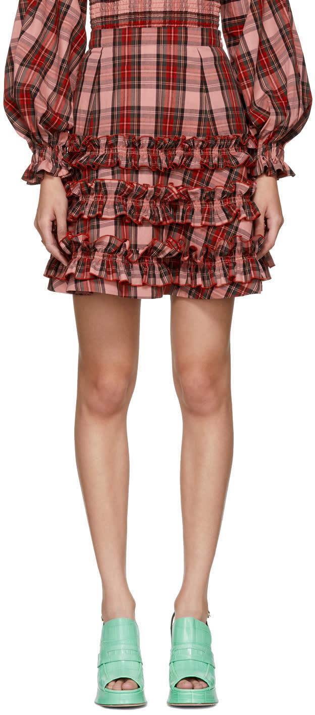 Image of Molly Goddard Pink Tartan Em Miniskirt