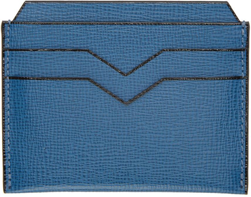 Image of Valextra Blue 4cc Card Holder