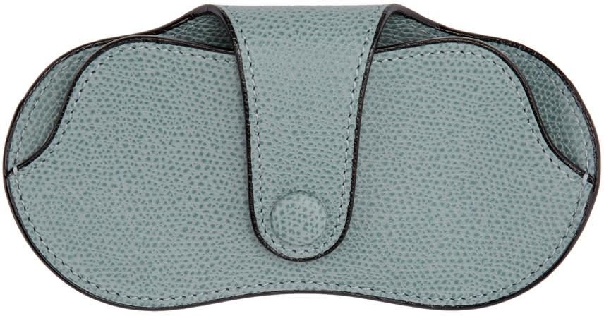 Image of Valextra Blue Leather Glasses Case