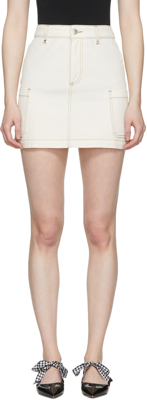 Alexachung Mini-jupe En Denim écrue Patch Pocket