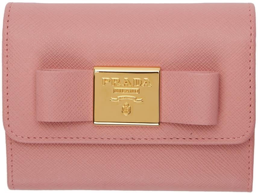 039deb73 Prada Pink Gold Bow Compact Wallet