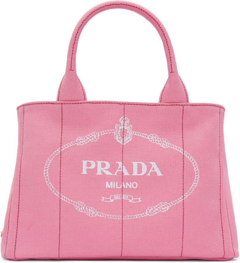 Prada ピンク スモール ガードナー キャンバス トート