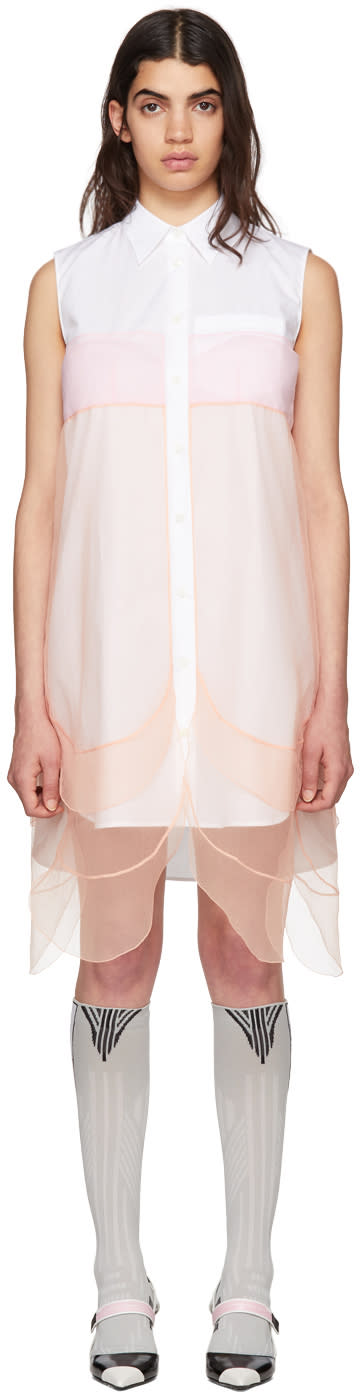 Prada White and Orange Sleeveless Chiffon Dress