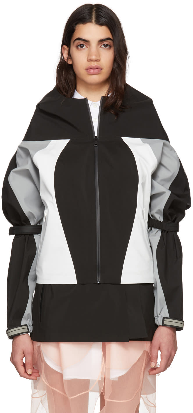 Prada Black Cropped Colorblock Track Jacket