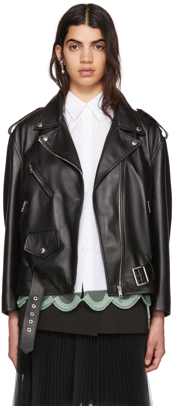 Prada Black Leather Biker Jacket
