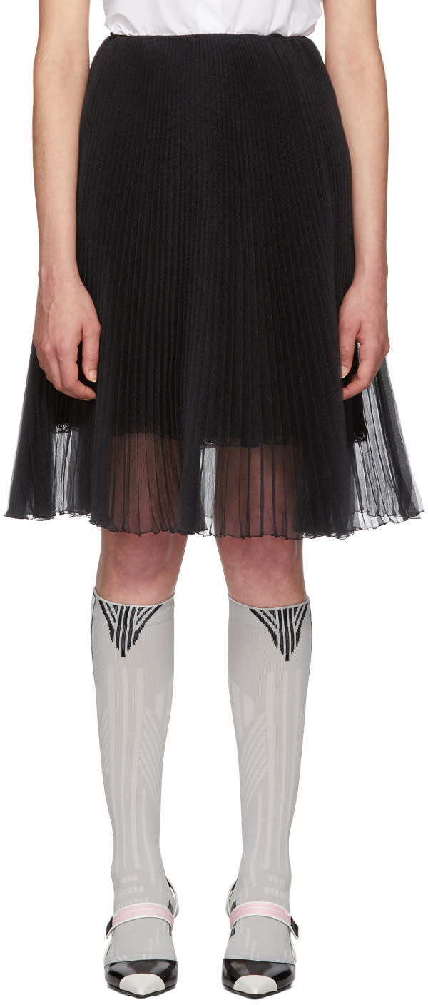 Prada Black Pleated Chiffon Skirt