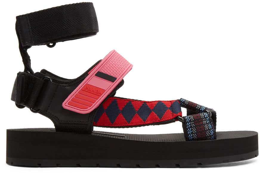 Prada Black and Pink Velcro Sandals