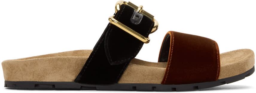 Image of Prada Black and Brown Single Buckle Velvet Sandals