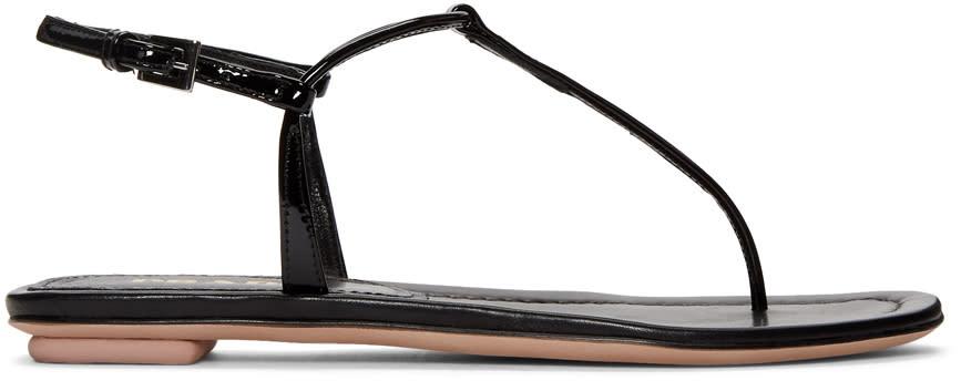 Prada Black T-strap Flat Sandals