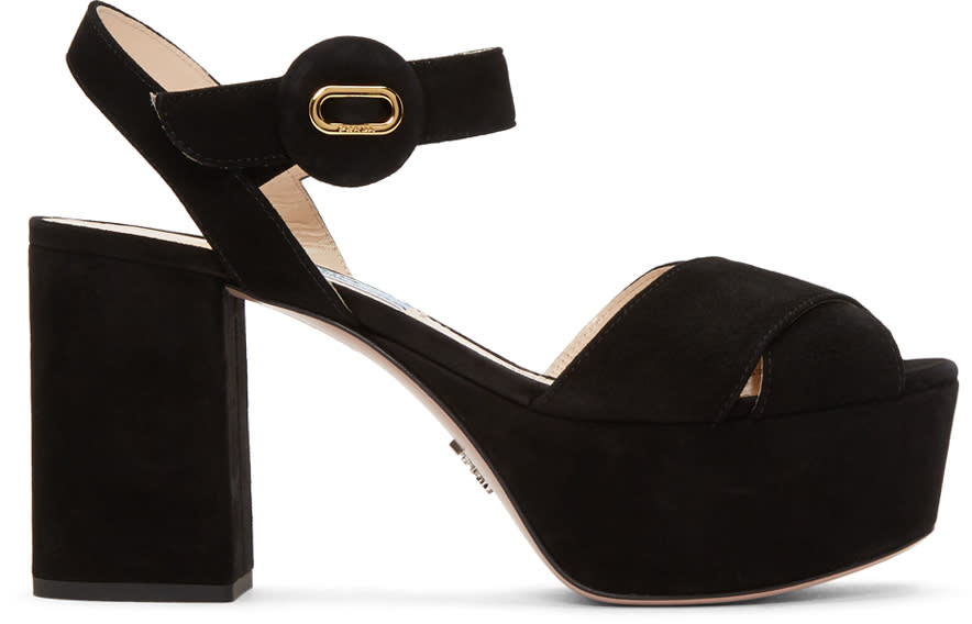 9f8bda6021574 Prada Black Suede Platform Sandals