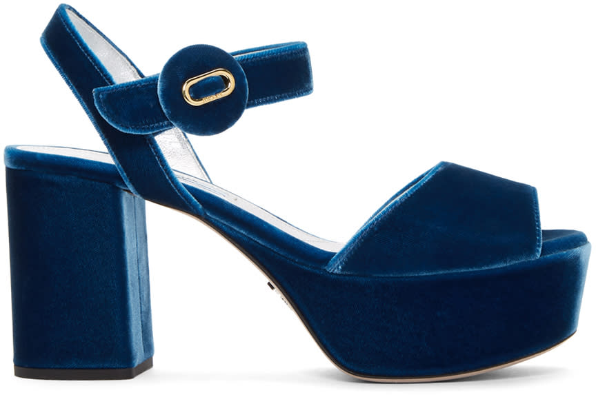 Prada Blue Velvet Platform Sandals