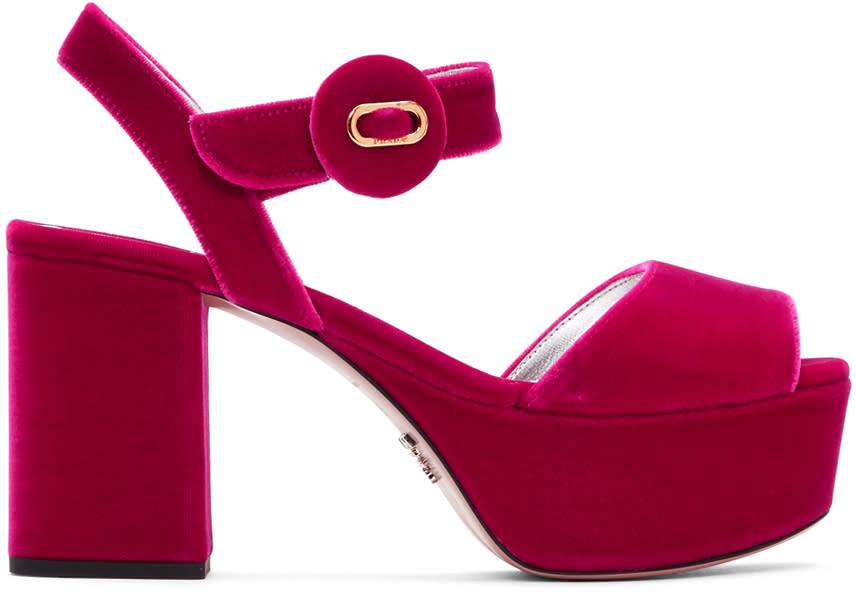Prada Pink Velvet Platform Sandals