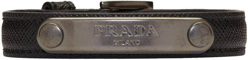 Image of Prada Black and Gunmetal Saffiano Bracelet