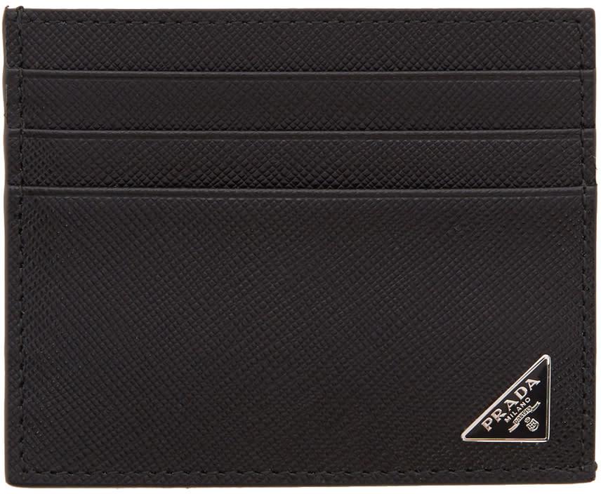 88feb157 Prada Black Saffiano Logo Card Holder