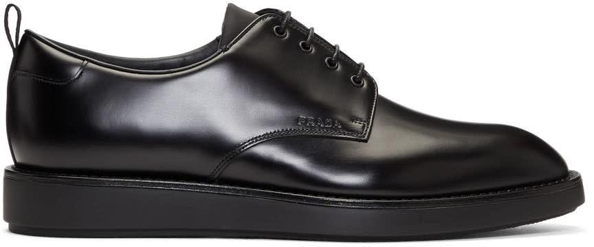 Prada Black Leather Logo Derbys