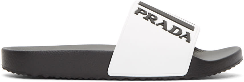 Prada White Rubber Logo Slides