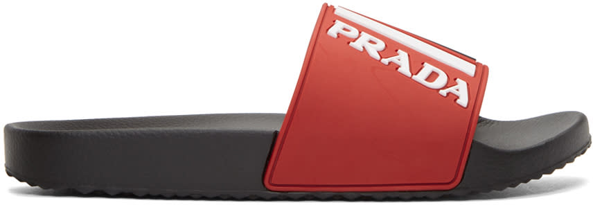 Prada Red Rubber Logo Slides