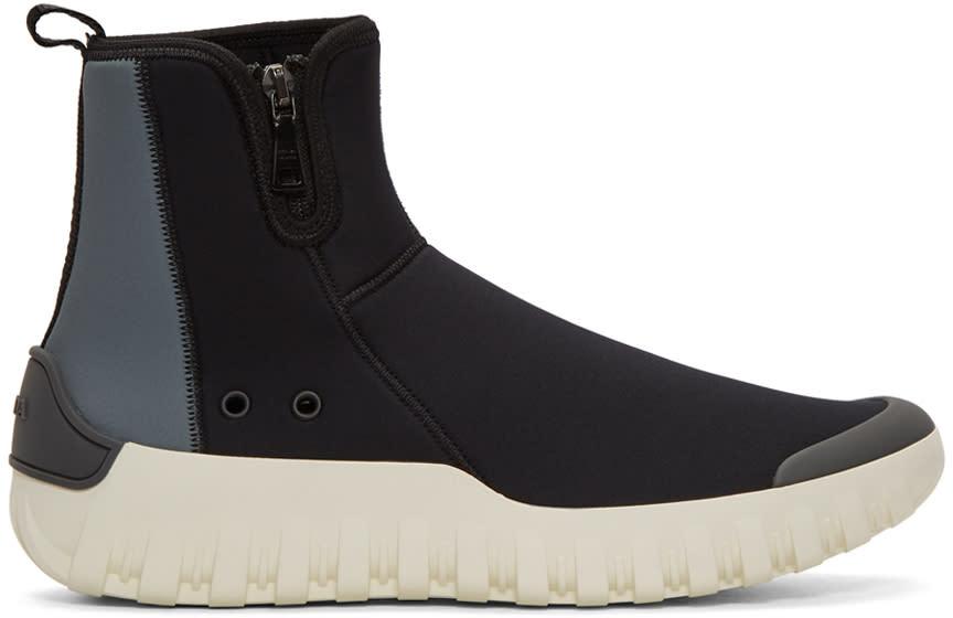Image of Prada Black and Grey Neoprene Frog Sock High-top Sneakers