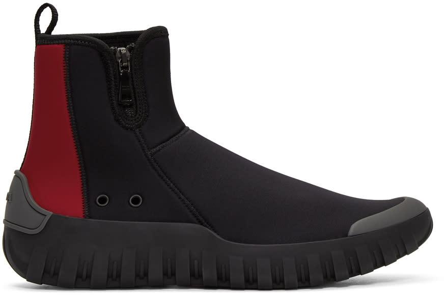 Prada Black and Red Neoprene Frog Sock High-top Sneakers