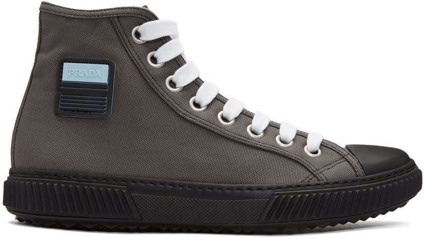 5fdb2ec70 Prada Grey Canvas High top Sneakers