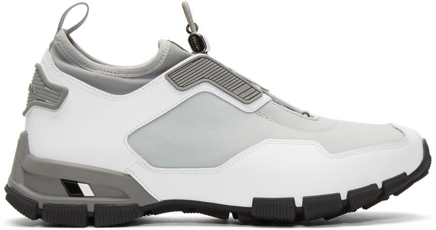 Prada Grey and White Traila Sneakers