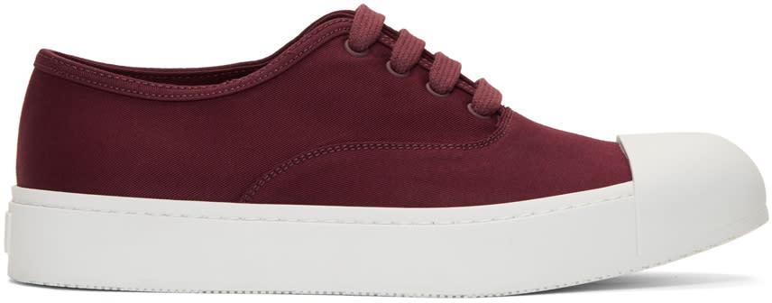Prada Red Gabardine Sneakers