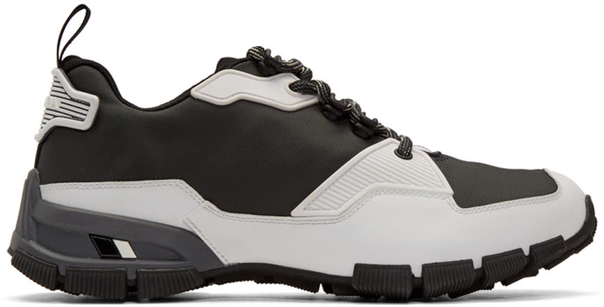 Prada Grey and White Technical Sneakers