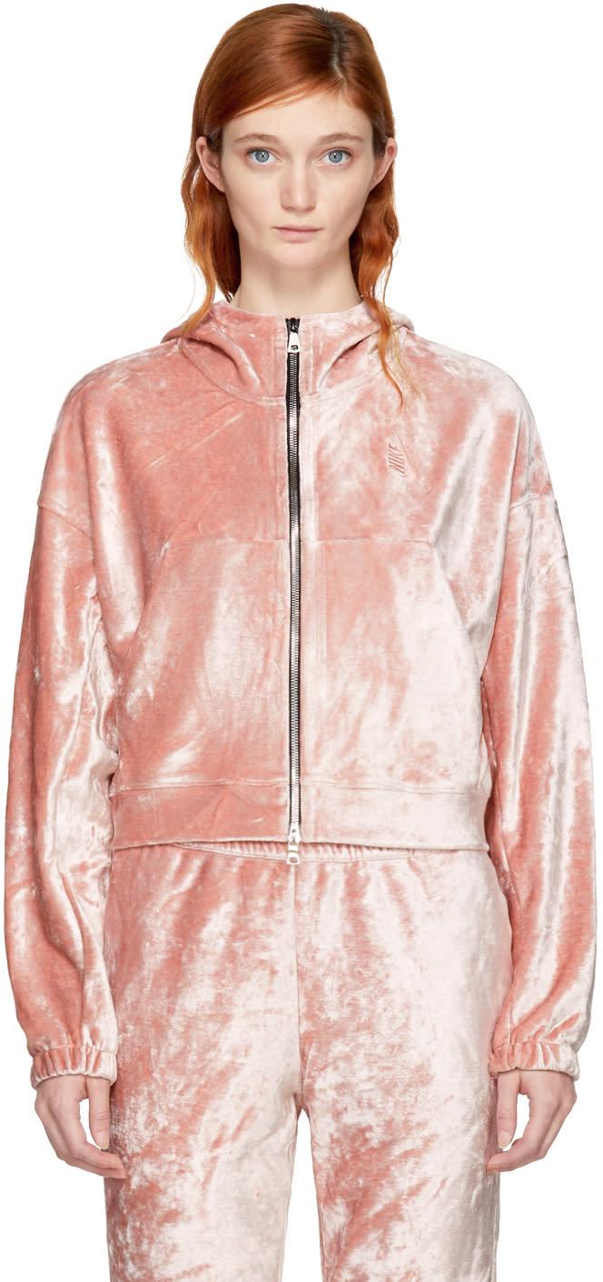 Image of Nikelab Pink Velour Essentials Hoodie