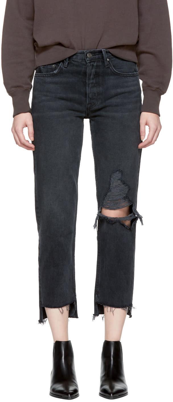 Image of Grlfrnd Black Helena Crop Knee Rip Jeans