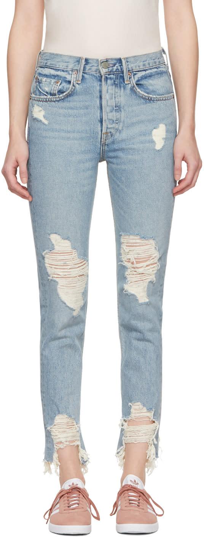 Image of Grlfrnd Blue Karolina Deconstructed Jeans