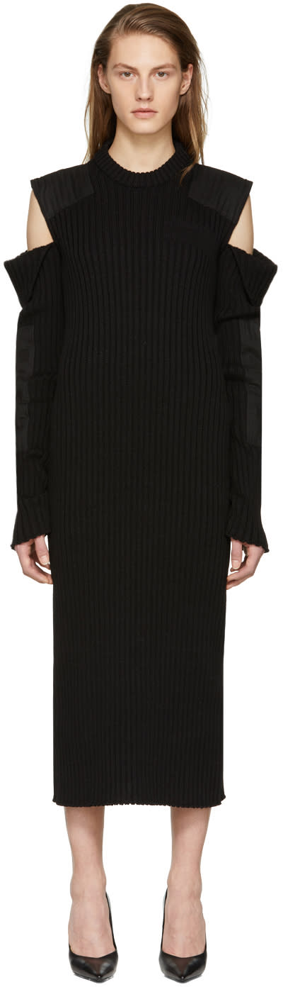 Calvin Klein 205w39nyc Black Cut-out Shoulder Uniform Knit Dress