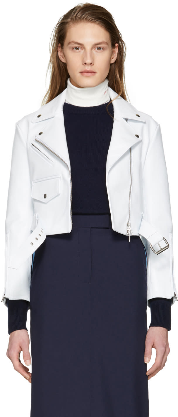 Calvin Klein 205w39nyc White Cropped Leather Biker Jacket