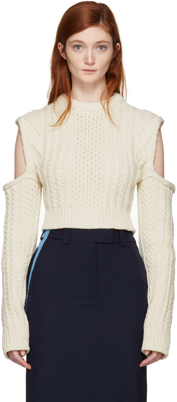 Calvin Klein 205w39nyc Off-white Cable Knit Turtleneck