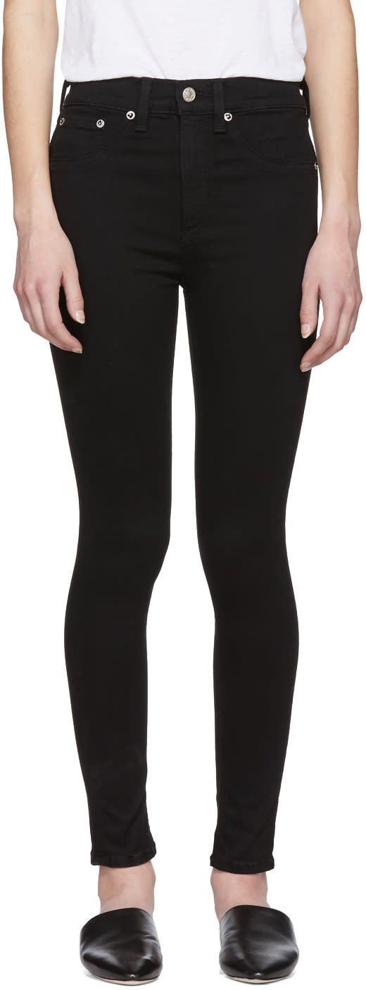 Rag And Bone Black High Rise Ankle Skinny Jeans