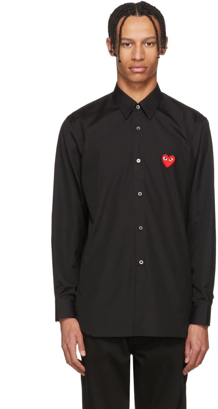Comme Des Garçons Play Chemise Noire Heart Patch