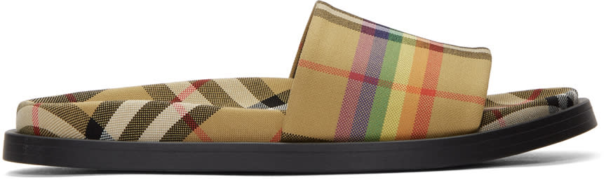Burberry Yellow Check Rainbow Slides