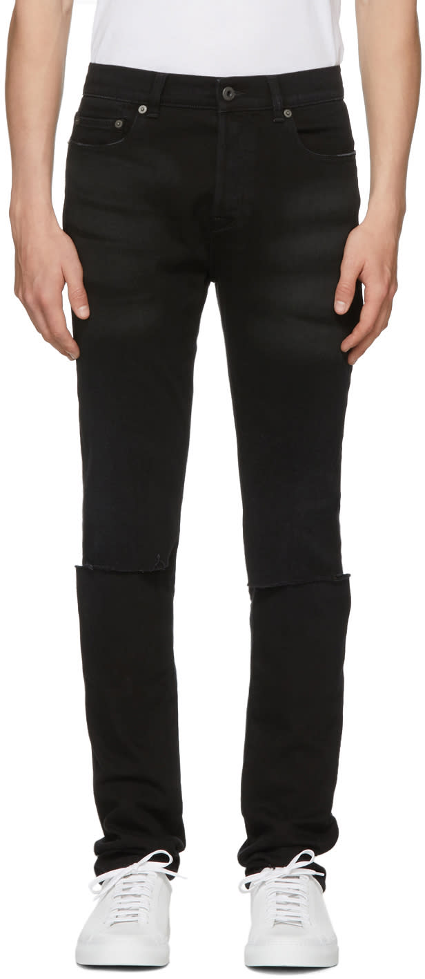 Valentino Black Slit Knees Skinny Jeans