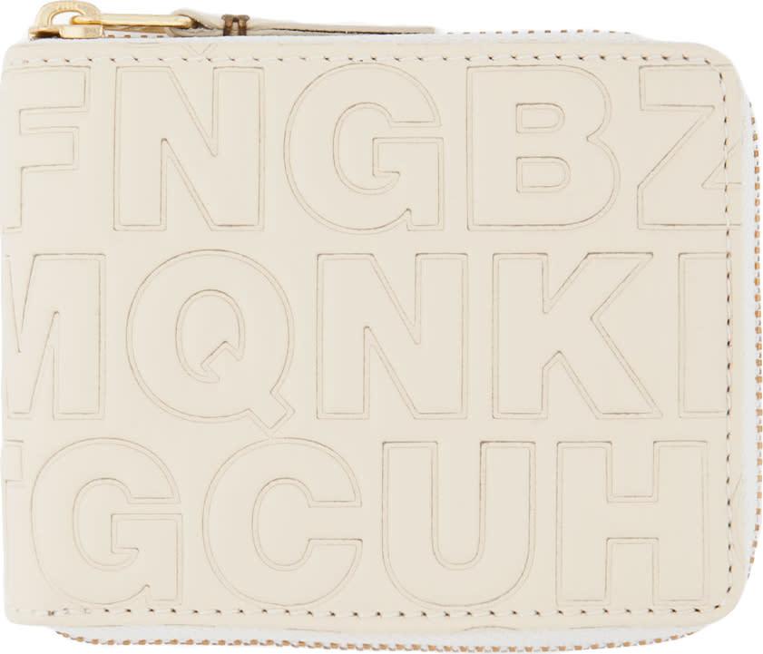 Comme Des Garçons Wallets Cream Letter Embossed Wallet