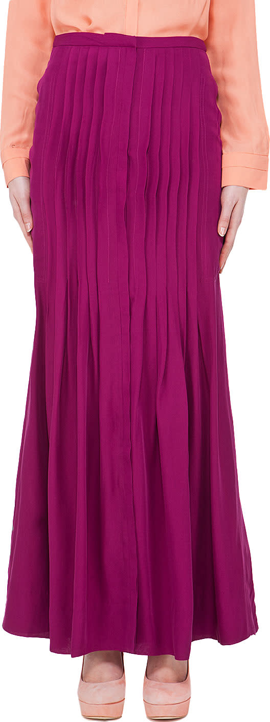 Image of By Malene Birger Silk Blend Rasberry Pleat Skirt