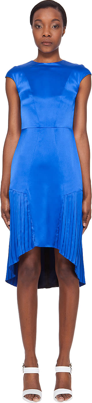 Mandy Coon Glossy Blue Pleat Dress