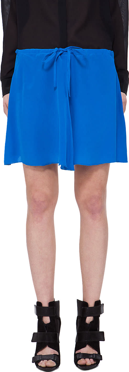 Image of Co Blue Silk Drawstring Skirt
