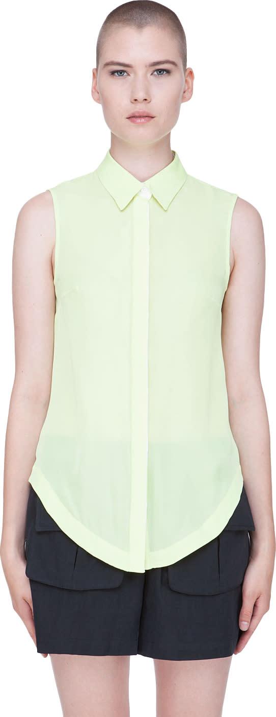 Image of Wayne Pale Green Silk Blouse