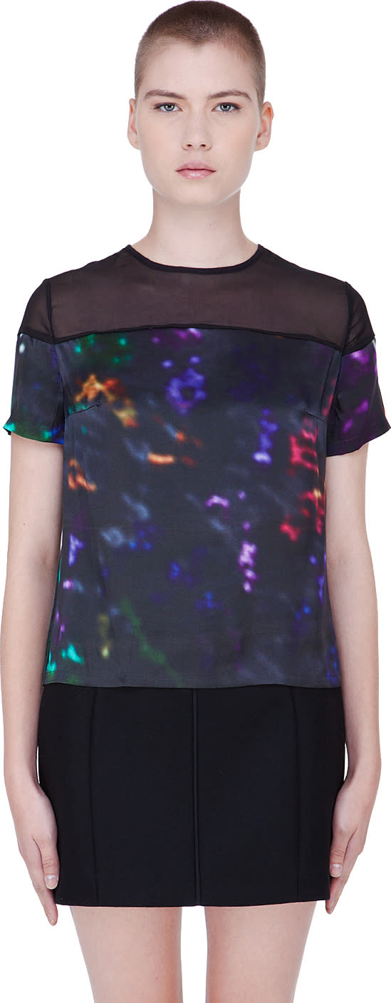 Image of Preen Line Multicolor Silk Abstract Laxt T-shirt