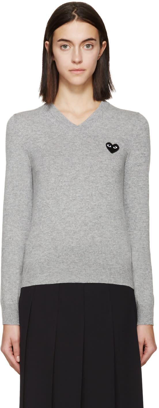 Comme Des Garçons Play Grey Black Emblem Sweater