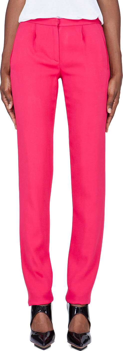 Thakoon Slim Pink Tucked Trousers
