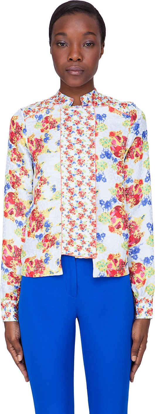 Image of Suno Pale Blue Floral Silk Bouquet Blouse