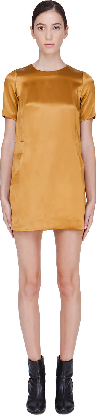 Image of Co Gold Silk Blend Shift Dress
