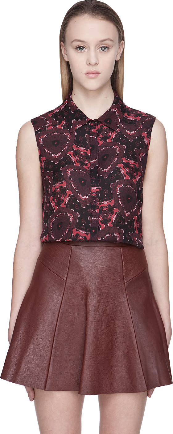 A.l.c. Red Floral Mackay Silk Blouse