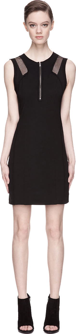 Edun Black High Twist Crepe Mesh-trimmed Dress