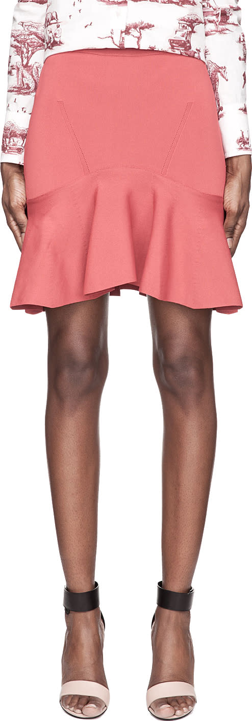 Carven Washed Red Knit Pleated Flounce Skirt